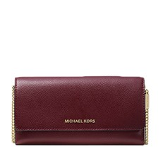 Kabelka Michael Kors Large Two-Tone Crossgrain Leather Convertible Chain Wallet oxblood