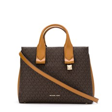 Kabelka Michael Kors Rollins Large Logo Satchel brown/acorn