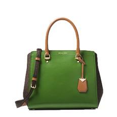 Kabelka Michael Kors Benning Large Leather and Logo Satchel true green/brown/acorn