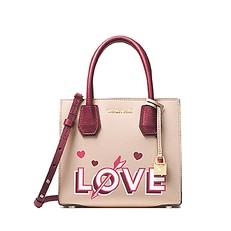Kabelka Michael Kors Mercer Leather Crossbody Love soft pink/mulberry