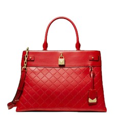 Kabelka Michael Kors Gramercy Chain Embossed Leather Satchel bright red