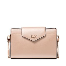Kabelka Michael Kors Large Crossgrain Leather Crossbody Clutch soft pink