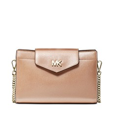 Kabelka Michael Kors Large Metallic Crossgrain Leather Crossbody Clutch ballet