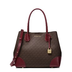 Kabelka Michael Kors Mercer Gallery Medium Logo Satchel brown/burgundy