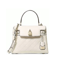 Kabelka Michael Kors Gramercy Medium Chain-Embossed Leather Satchel cream
