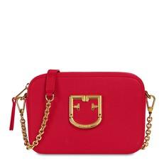 Kožená kabelka Furla Brava Mini Crossbody ruby