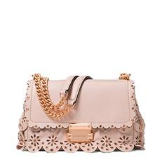 Kabelka Michael Kors Sloan Small Floral Scalloped Leather Shoulder soft pink