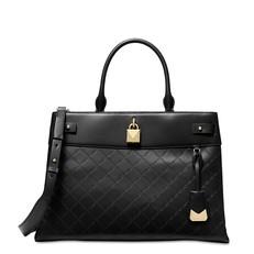 Kabelka Michael Kors Gramercy Chain Embossed Leather Satchel černá
