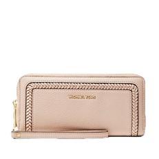 Peněženka Michael Kors Lexington Large Pebbled Leather Continental Wristlet soft pink