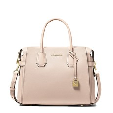 Kabelka Michael Kors Mercer Medium Pebbled Leather Belted Satchel soft pink