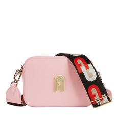 Kožená kabelka Furla Sleek Mini Crossbody rosa chiaro