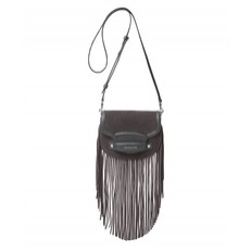 Kabelka Michael Kors Cary Small Fringed Suede Saddle šedá