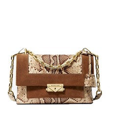 Kabelka Michael Kors Cece Medium Python-Embossed Leather and Suede Shoulder