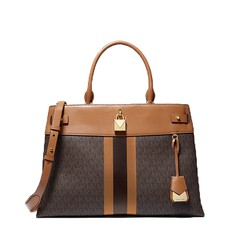 Kabelka Michael Kors Gramercy Large Striped Leather and Logo Satchel
