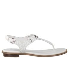 Kožené sandálky Michael Kors Plate Thong Logo bílé