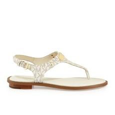 Kožené sandálky Michael Kors Plate Thong vanilla