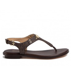 Kožené sandálky Michael Kors Plate Thong brown