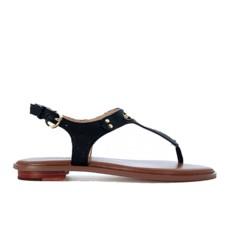 Kožené sandálky Michael Kors Plate Thong černé