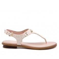 Kožené sandálky Michael Kors Plate Thong Logo soft pink