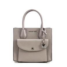 Kabelka Michael Kors Mercer Medium Pebbled Leather Pocket Tote pearl grey