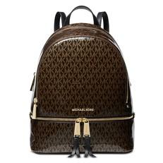 Kabelka Michael Kors Rhea Medium Glossy Logo Backpack brown