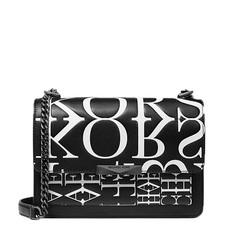 Kabelka Michael Kors Jade Large Newsprint Logo Leather Crossbody
