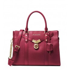 Kabelka Michael Kors Nouveau Hamilton Large Pebbled Leather Satchel berry
