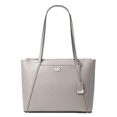 Kabelka Michael Kors Maddie Medium Crossgrain Leather Tote pearl grey