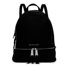 Kabelka batoh Michael Kors Rhea Medium Leather Backpack černá
