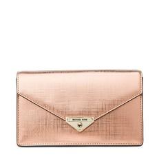 Kabelka Michael Kors Grace Medium Metallic Leather Envelope Clutch ballet