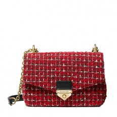 Kabelka Michael Kors Soho Small Tweed Shoulder bright red