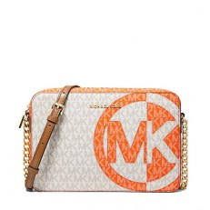 Kabelka Michael Kors Jet Set Large MK Logo Crossbody vanilla/clementine
