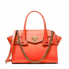 Kabelka Michael Kors Carmen Small Saffiano Leather Belted Satchel clementine