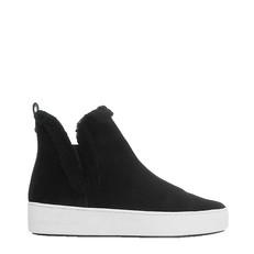 Obuv Michael Kors Ashlyn Suede and Shearling High-Top Sneaker černé