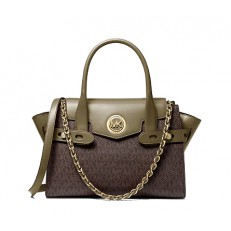 Kabelka Michael Kors Carmen Small Logo and Leather Belted Satchel army