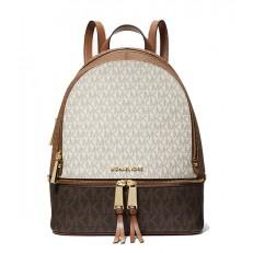Kabelka Michael Kors Rhea Medium Color-Block Logo Backpack brown/vanilla/camel