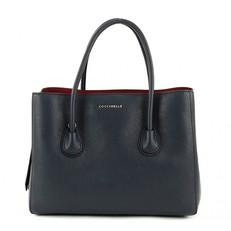 Kožená kabelka Coccinelle C1XA0 temně modrá/merlot