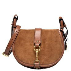 Kabelka Michael Kors Jamie Medium Suede Saddle dark caramel