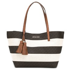 Kabelka Michael Kors Stripe Canvas LG EW Tote brown