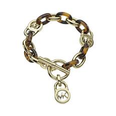 Náramek Michael Kors Logo Lock Toggle hnědozlatý
