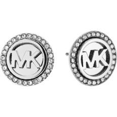 Naušnice Michael Kors Crystal Pave Logo stříbrné