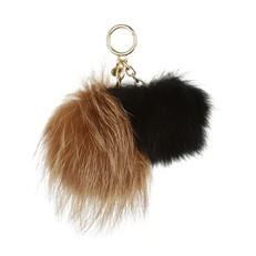 Přívěsek Michael Kors Duo Pom Pom Fur natural/ černá