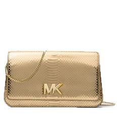 Kabelka Michael Kors Mott Large Metallic Embossed-Leather Clutch