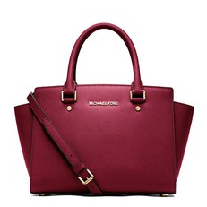 Kabelka Michael Kors Selma Medium Saffiano Satchel mulberry