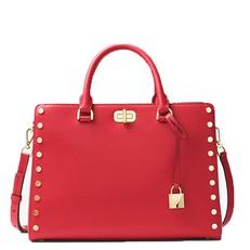 Kabelka Michael Kors Sylvie Large Studded Leather Satchel bright red