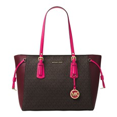 Kabelka Michael Kors Voyager Medium Logo Tote brown/mulberry/ultra pink