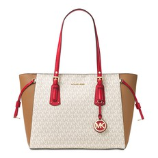 Kabelka Michael Kors Voyager Medium Logo Tote vanilla/acorn/bright red