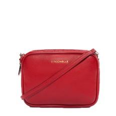 Kožená kabelka Coccinelle New Brick Leather Minibag coquelicot
