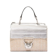 Kožená kabelka Coccinelle Arlettis Leather and Straw stříbrna