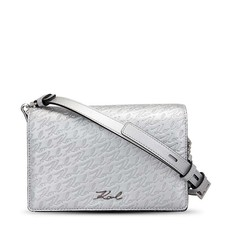 Kabelka Karl Lagerfeld Embossed Logo Shoulder stříbrná